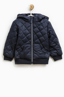 Solid colour quilted down jacket with zip, Navy Blue, hi-res