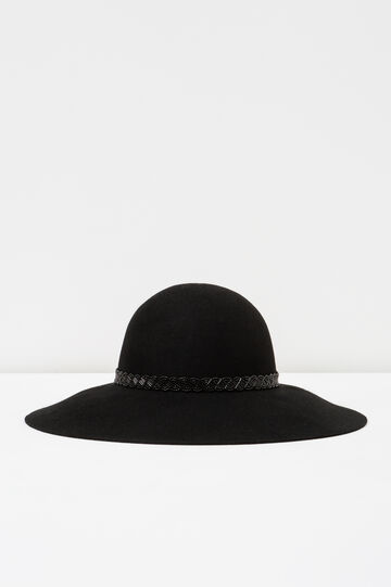 Wide-brimmed hat with beads, Black, hi-res