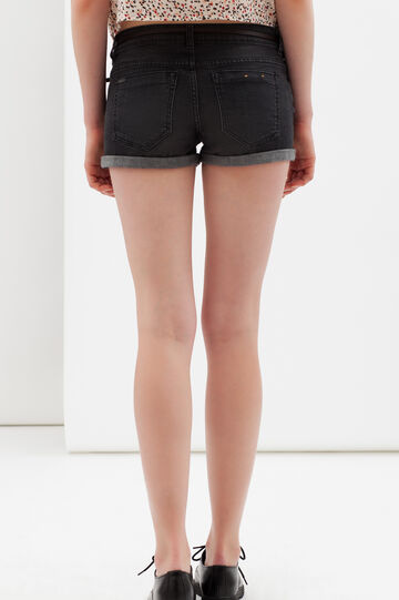 Stretch shorts with turn-up, Dark Wash, hi-res