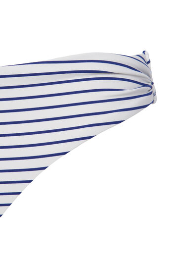 Stretch bikini bottoms with striped pattern, White/Blue, hi-res
