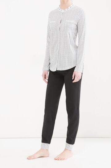 Cotton pyjamas with mandarin collar., White/Black, hi-res