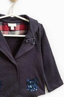 Jacket in stretch cotton fleece, Navy Blue, hi-res