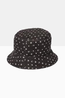 Patterned fishing hat, Black, hi-res