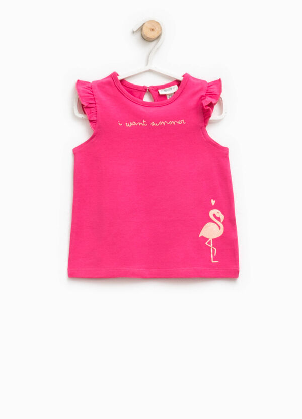 Cotton top with flounce and print | OVS