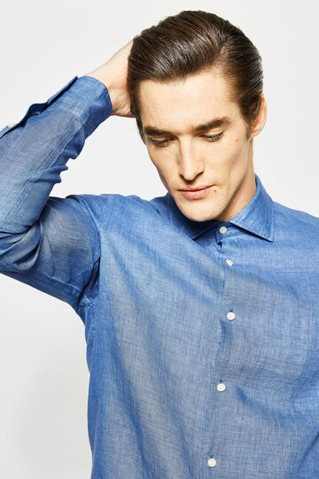 Camicia Rumford in puro lino, Blu avio, hi-res