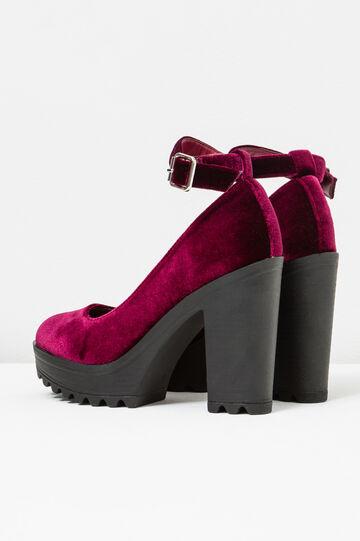 Velvet pumps with strap, Claret Red, hi-res