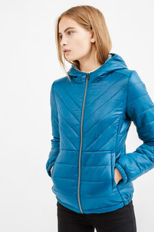 Down jacket with stretch cuffs and hood, Light Blue, hi-res