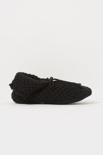 Solid colour knitted slippers, Black, hi-res