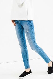 Ripped, skinny-fit stretch jeans, Medium Wash, hi-res