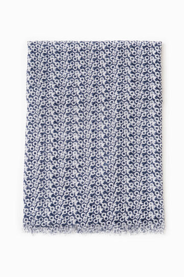 Patterned scarf with fringed edges, Denim Blue, hi-res