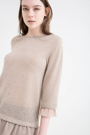 Solid colour cotton T-shirt with flounces, Beige, hi-res