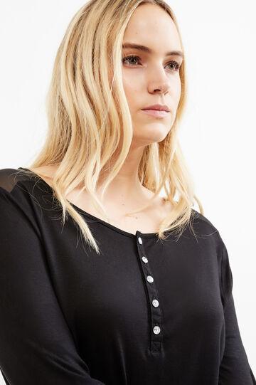 T-shirt inserti semitrasparenti Curvy, Nero, hi-res