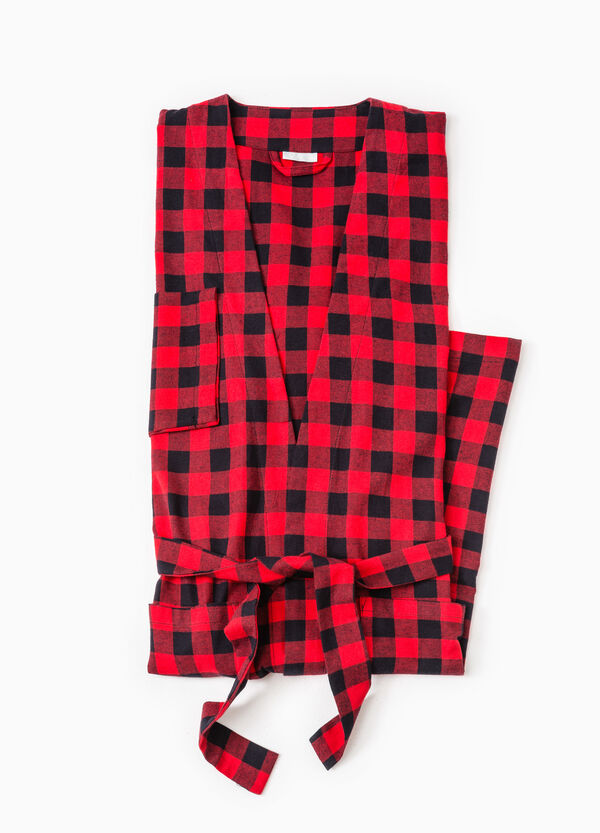 100% cotton check dressing gown | OVS