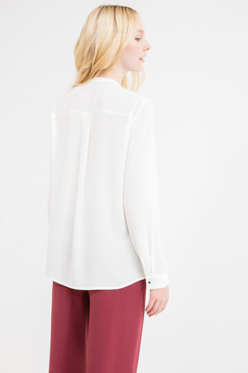 Blouse with gold finish button, Off-white, hi-res