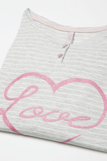Maglia pigiama cotone stretch Curvy, Bianco/Grigio, hi-res