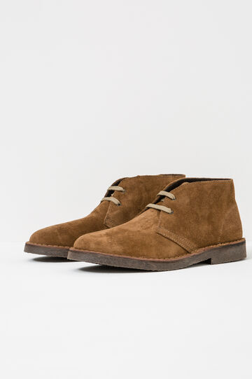 Solid colour leather ankle boots, Light Brown, hi-res