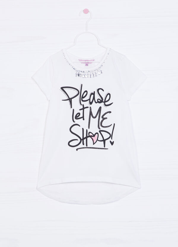 100% cotton T-shirt with print and sequins | OVS