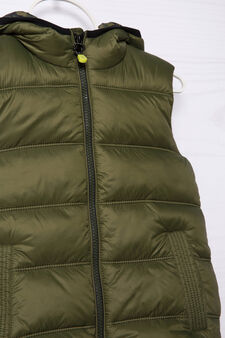 Camouflage quilted and hooded waistcoat, Green, hi-res