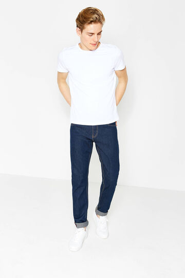 Solid colour straight-fit jeans with zip, Dark Wash, hi-res