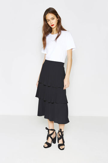 Frilled longuette skirt, Black, hi-res