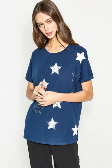 T-shirt con stampa a stelle e strass, Bianco/Blu, hi-res