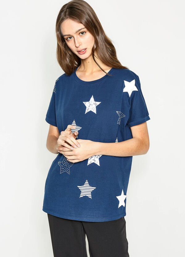 T-shirt con stampa a stelle e strass | OVS