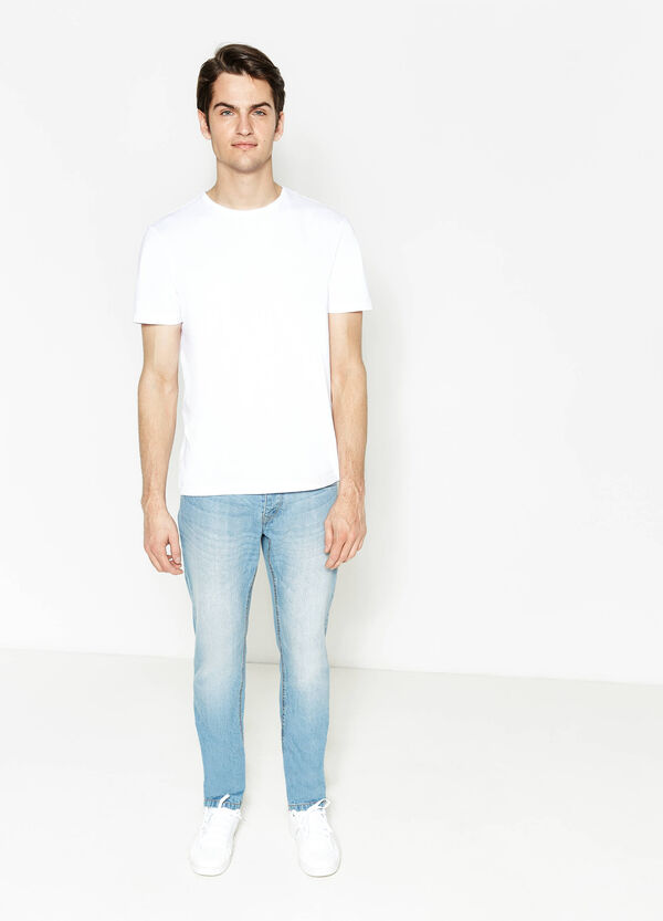 Slim-fit worn-effect jeans with buttons | OVS