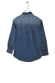 Denim shirt with faded effect, Medium Wash, hi-res