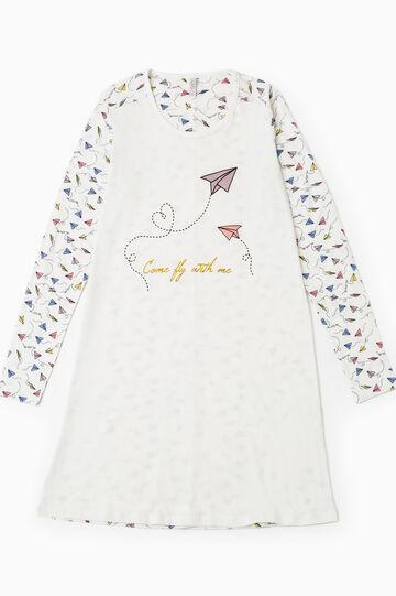 Nightdress with all-over print, Cream White, hi-res