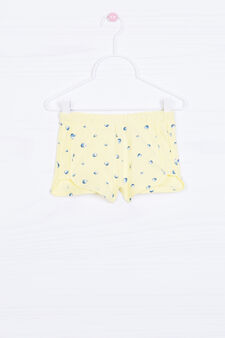Stretch cotton patterned shorts, Yellow, hi-res