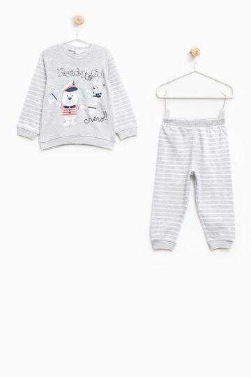 Striped pyjamas with animal print, Grey, hi-res