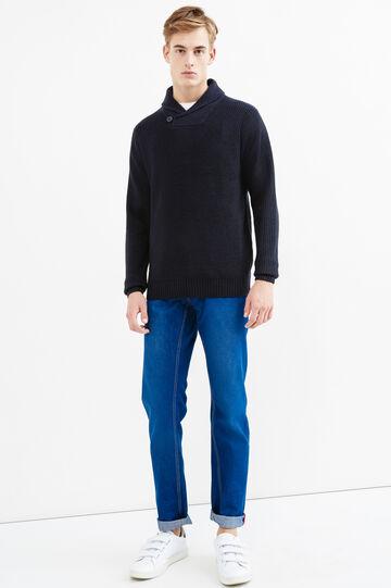 Pullover tricot con scollo a V, Blu navy, hi-res