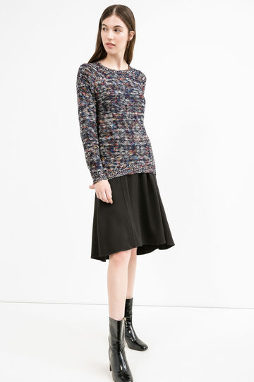 Cotton blend knitted pullover with pattern, Blue, hi-res