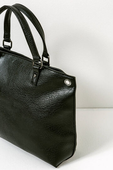 Handbag with eyelets, Black, hi-res