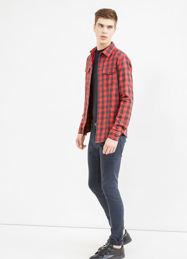 Casual check shirt with bluff collar | OVS
