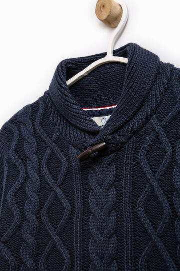 Pullover with high neck and toggle, Blue, hi-res