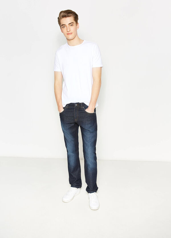 Straight-fit worn-effect jeans with fading | OVS