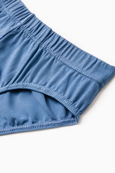 Three-pack solid colour stretch briefs, Blue Marl, hi-res