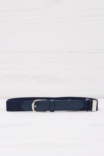 Plain stretch belt, Navy Blue, hi-res