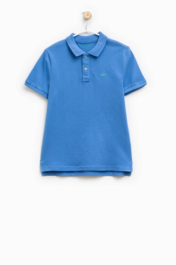 Cotton polo shirt with shark embroidery