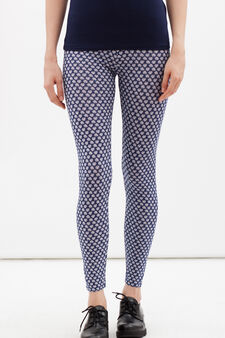 Stretch leggings with all-over print., White/Blue, hi-res