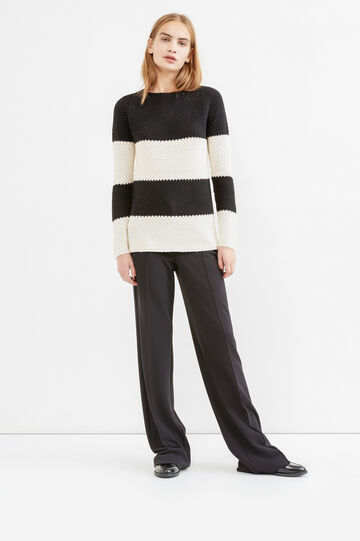 Pullover with striped pattern and zip on back, Black/White, hi-res