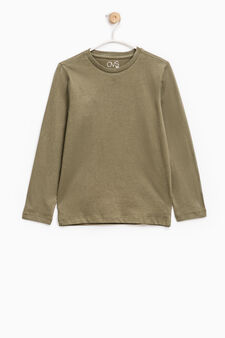Long-sleeved 100% cotton T-shirt, Sage Green, hi-res