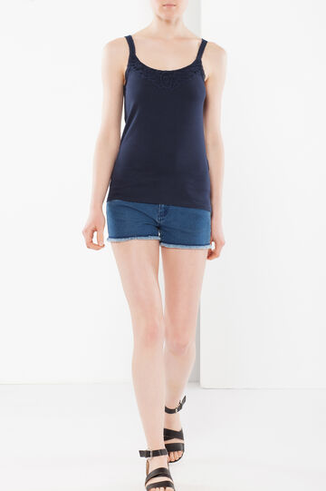 Top with lace, Dark Blue, hi-res