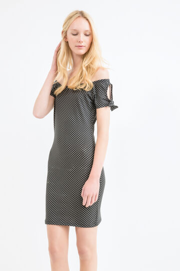 Stretch cotton printed dress, Black, hi-res