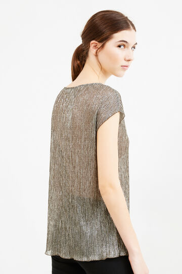 Semi-sheer solid colour blouse, Platinum, hi-res