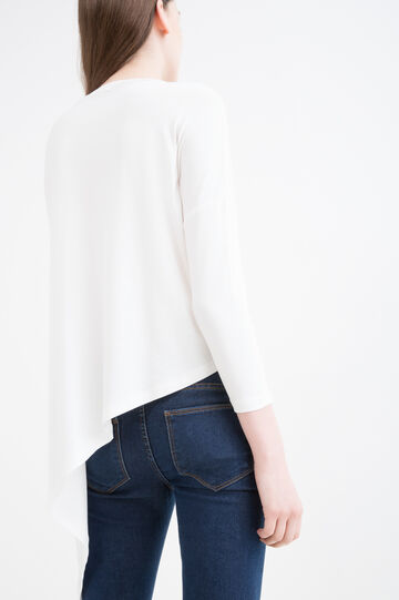 T-shirt stretch stampa lettering, Bianco latte, hi-res