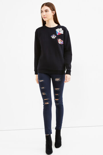 Sequinned sweatshirt in 100% cotton, Black, hi-res