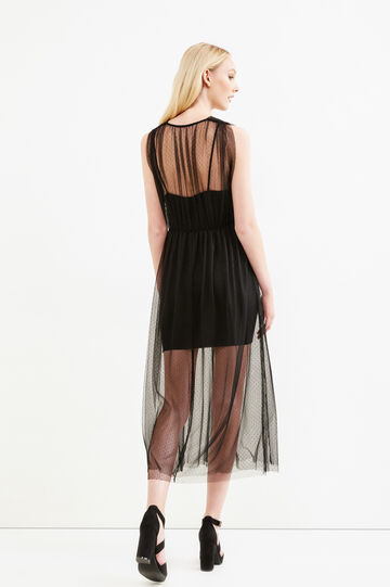 Longuette dress in speckled tulle, Black, hi-res