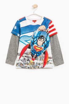 T-shirt with maxi Superman print, White/Grey, hi-res